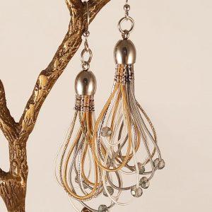 Boucles d'Oreilles tissées par Angélique Zrak, tisserande et passementière