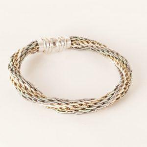 Bracelet tressé rond, par Angélique Zrak tisserande passementière