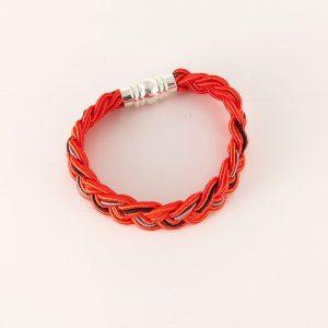 bracelet tresse plat zrak rouge