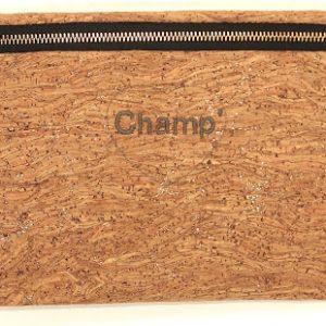 pochette en liege et lin brodée champ- angelique zrak- creation fabriquée en champagne